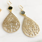 Long Gold Teardrop Earrings with Hexagon Labradorite Stones. Labradorite Statement Earrings.