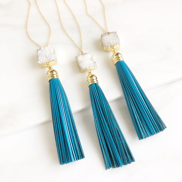 Tassel Necklace with White Druzy and Blue Tassel. Long Leather Tassel Necklace