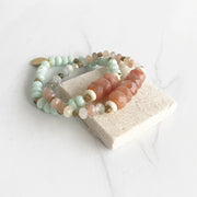 Set of 2 Moonstone and Amazonite Stretch Bracelets. Unique Stone Beaded Stacking Bracelets