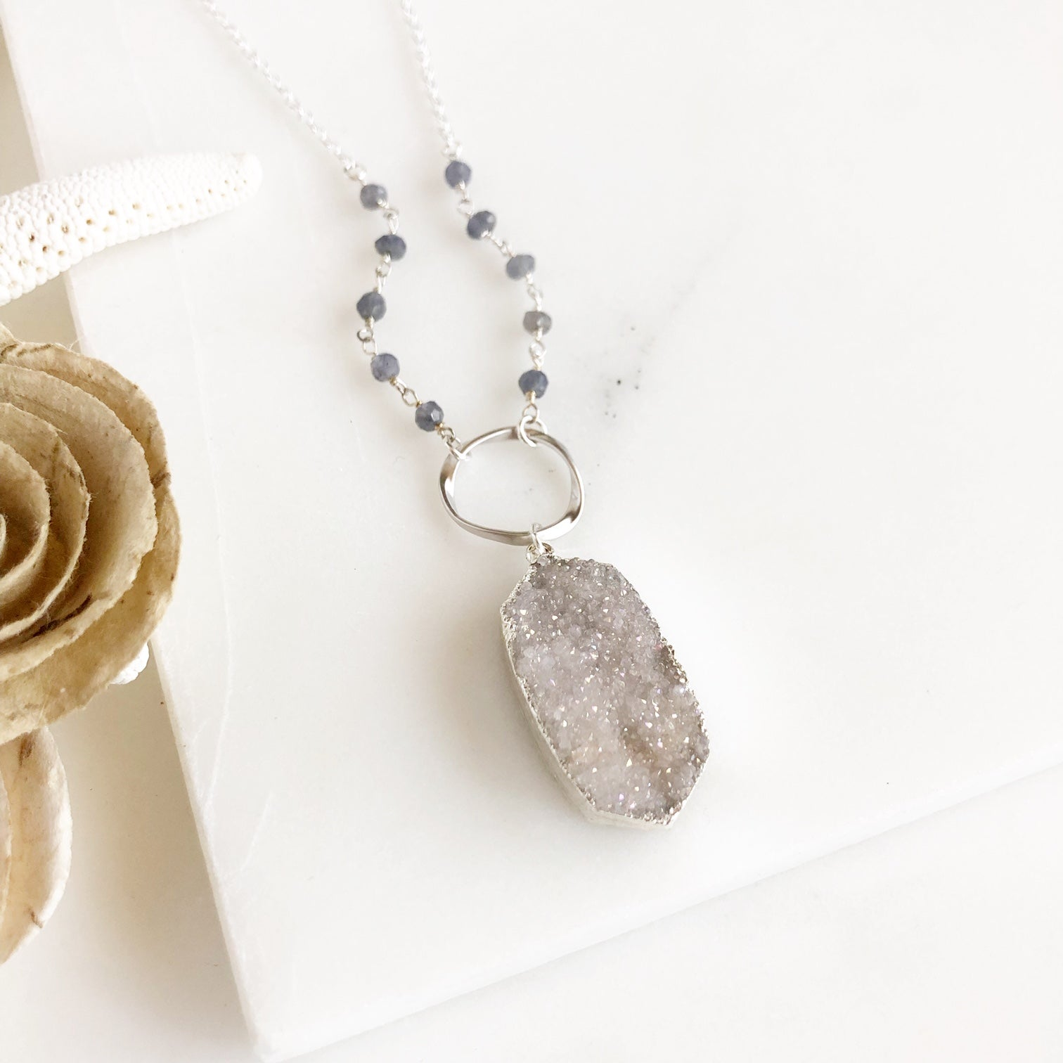 Long White Druzy Necklace in Sterling Silver with Grey Beaded Accent and Ring.