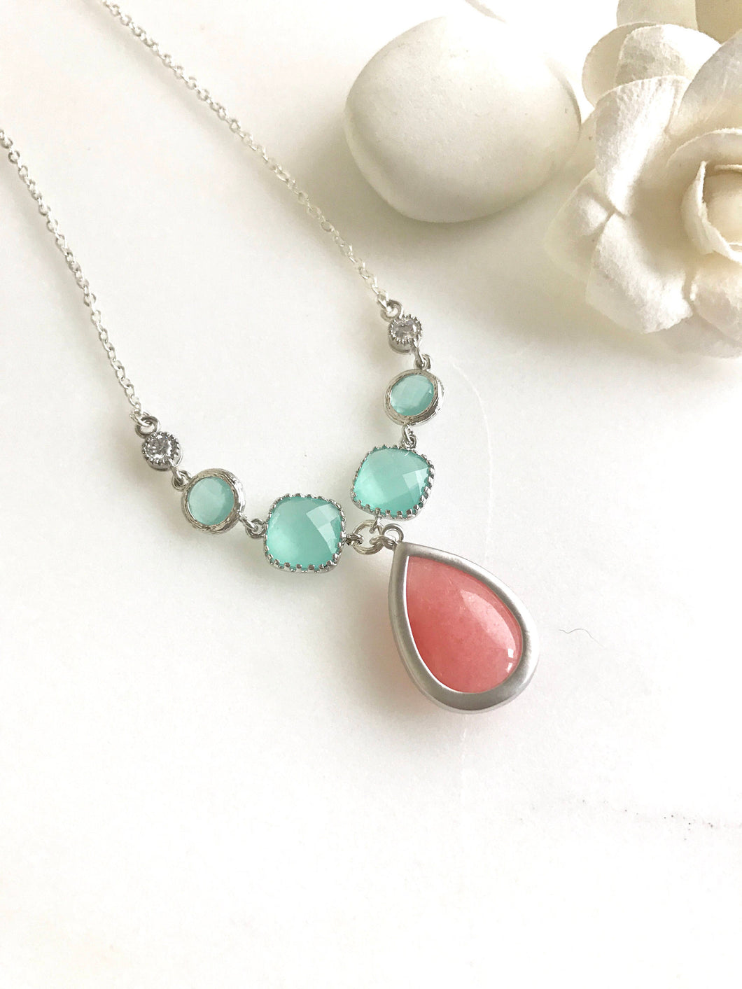 Unique Jewel Pendant Necklace with Shades of Coral Pink and Aqua. Unique Fashion Necklace. Silver Jewel Necklace.Bridal Necklace.