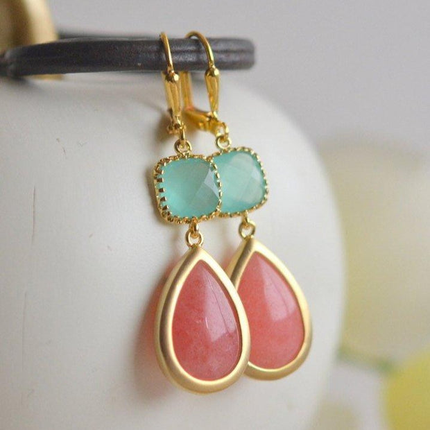 Coral Pink and Mint Aqua Bridesmaid Earrings. Dangle Drop Earrings. Wedding Earrings.