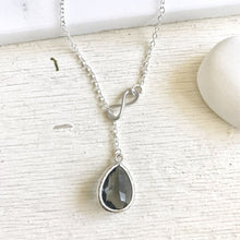 Load image into Gallery viewer, Charcoal Grey Lariat Necklace. Y Necklace. Infinity Necklace. Lariat. Bridesmaid Necklace. Gift for Her. Wedding Jewelry. Necklace.