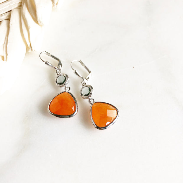 Sale - Silver Stone Dangle Earrings. Silver Earrings. You Choose. Orange and Teal Jewelry. Gift.