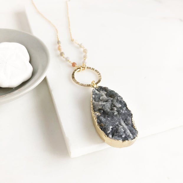 Long Charcoal Grey Druzy Teardrop and Circle Necklace with Beaded Chain in Gold