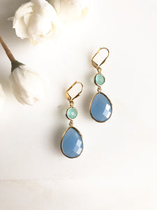 Periwinkle Blue and Aqua Glass Bridal Earrings. Bridesmaid Gift.