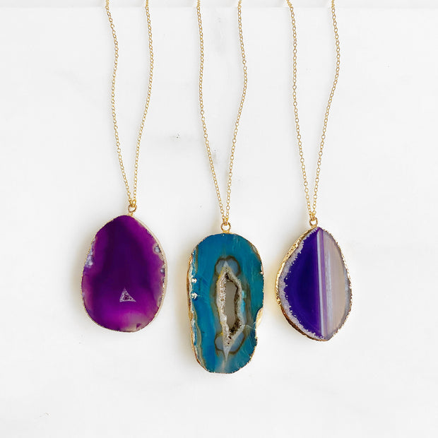 Long Geode Slice Stone Necklaces in Purple or Blue and 14k Gold Filled Chain. Natural Stone Jewelry