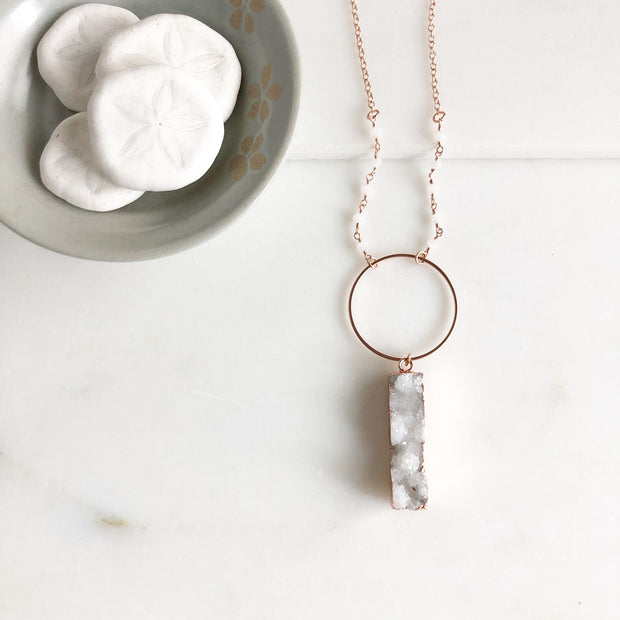 Long Rose Gold Necklace with White Druzy Triangle. Long Rose Gold Stone Necklace
