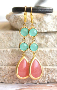 Dangle Earrings in Coral Pink and Aqua. Drop Earrings. Long Earrings. Bridal Party Jewelry. Bridesmaids Earrings. Gift. Wedding Earrings.