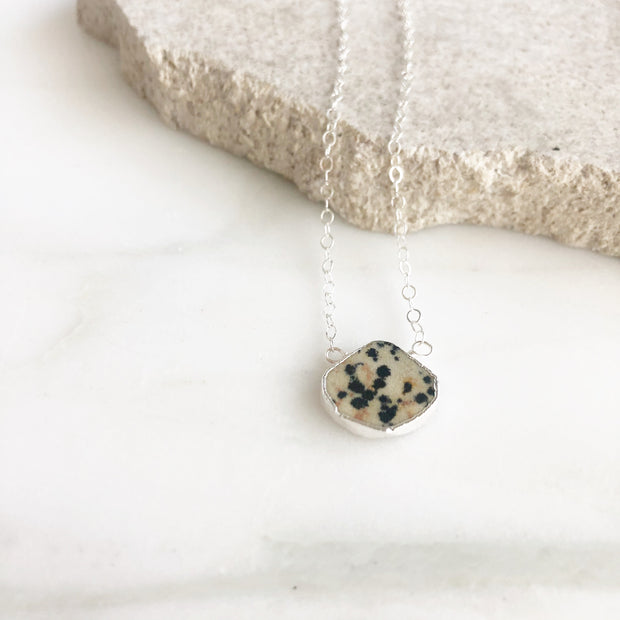 Dainty Gemstone Necklace in Silver. Dalmatian Jasper Necklace. Delicate Gemstone Layering Necklace