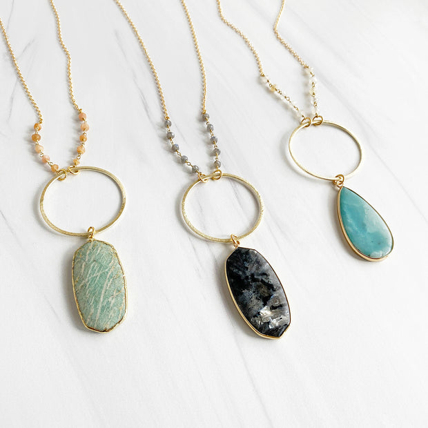 Long Gemstone Bezel Necklaces. Unique Statement Necklace. Gemstone Beaded Necklace