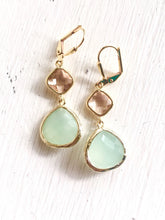 Load image into Gallery viewer, Light Mint Dangle Earrings with Champagne. Bridesmaid Earrings in Mint and Peach. Dangle Earrings. Drop Earrings. Wedding Jewelry. Bridal.
