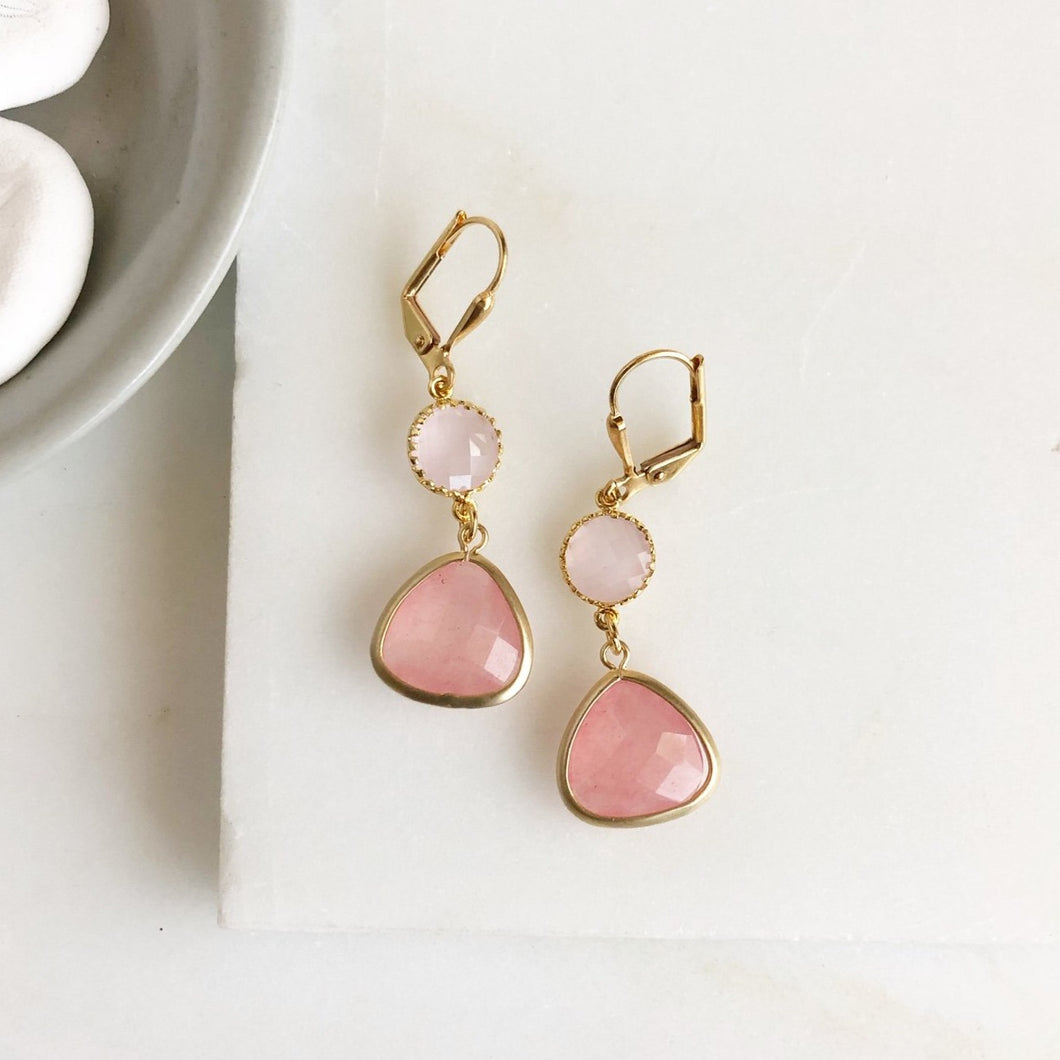 Soft Pink and Peach Glass Drop Earrings in Gold. Bridal Earrings. Bridesmaids Gift.