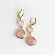 Soft Pink and Peach Glass Drop Earrings in Gold. Gold Pink Earrings