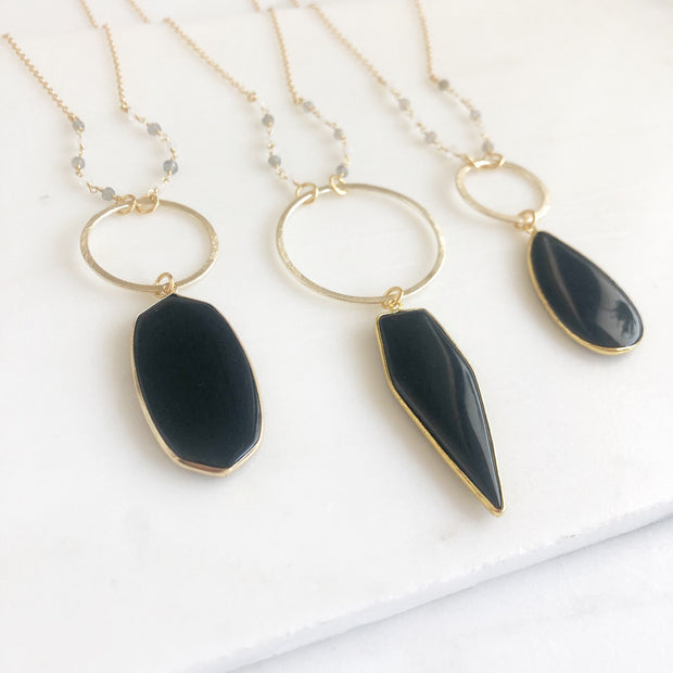 Long Black Stone Necklaces in Gold. Long Gold Statement Necklaces. Black and Gold Neutral Jewelry.