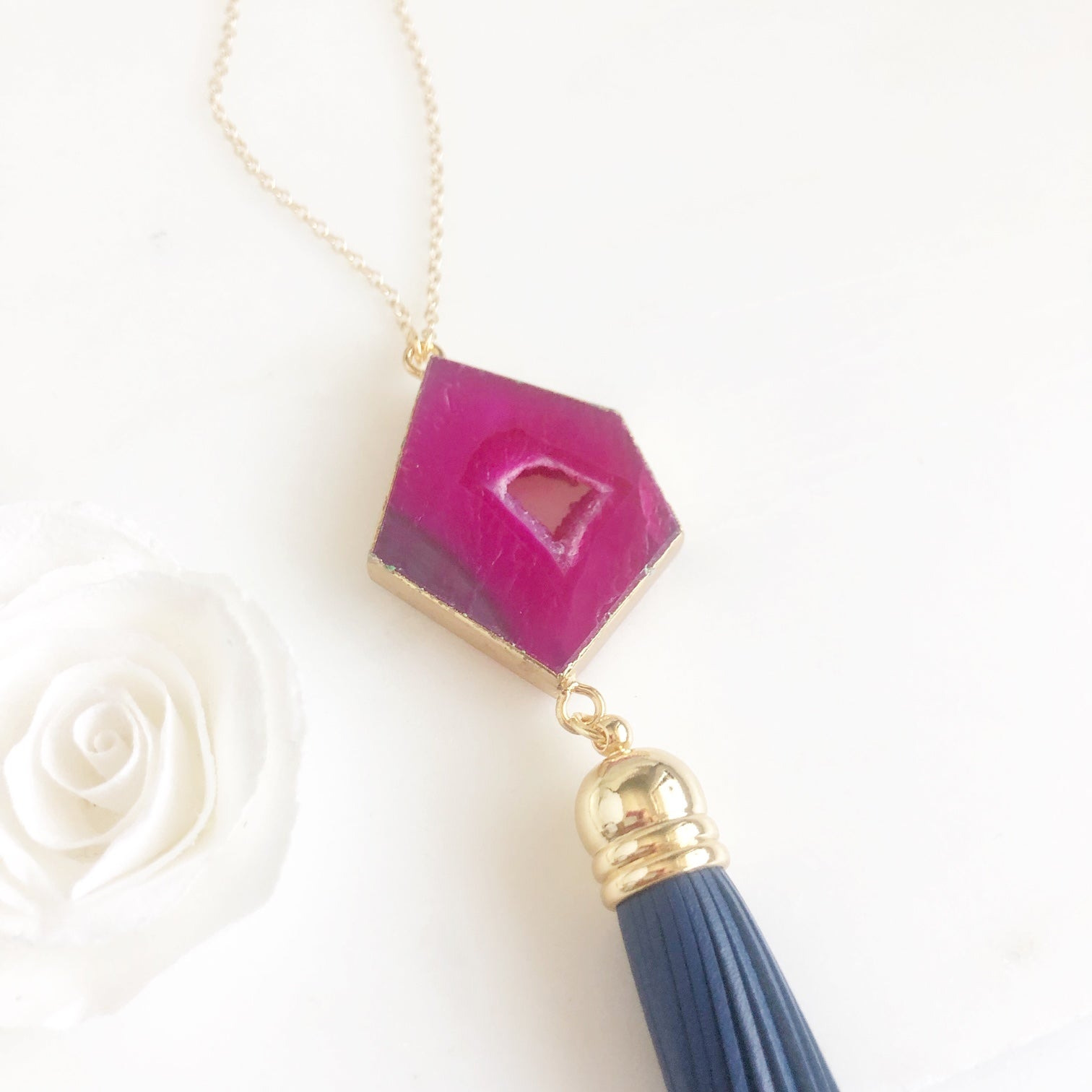 Gold Pink Druzy and Navy Blue Leather Tassel Necklace. Blue Tassel Necklace. Boho Tassel Necklace.