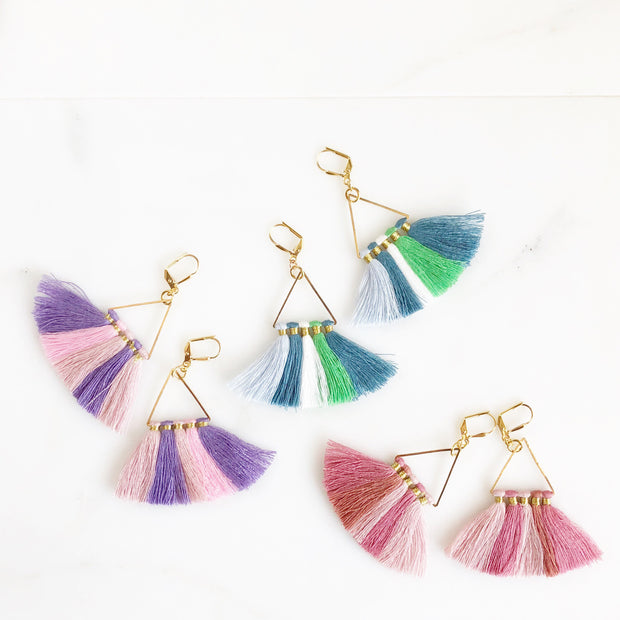 Triangle Tassel Earrings. Pink Blue Multicolor Tassel Earrings. Chandelier Earrings. Tassel Dangle Earrings. Statement Earrings. Jewelry.