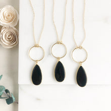 Load image into Gallery viewer, Long Black Teardrop Necklace in Gold. Long Onyx Stone Necklace. Long Necklace.