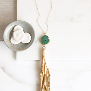 Boho Tassel Necklace. Green and Cream Tassel Necklace. Long Stone Slice Tassel Necklace. Boho Jewelry. Unique Gift Idea.