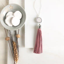 Load image into Gallery viewer, Tassel Necklace. Leather Tassel Necklace. White Druzy and Pink Tassel Necklace. Long Silver Necklace