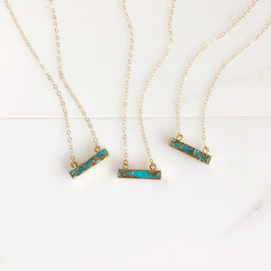 Turquoise Bar Necklace. Dainty Turquoise and Gold Bar Necklace. Layering Jewelry. Small Pendant Necklace. Jewelry Gift.