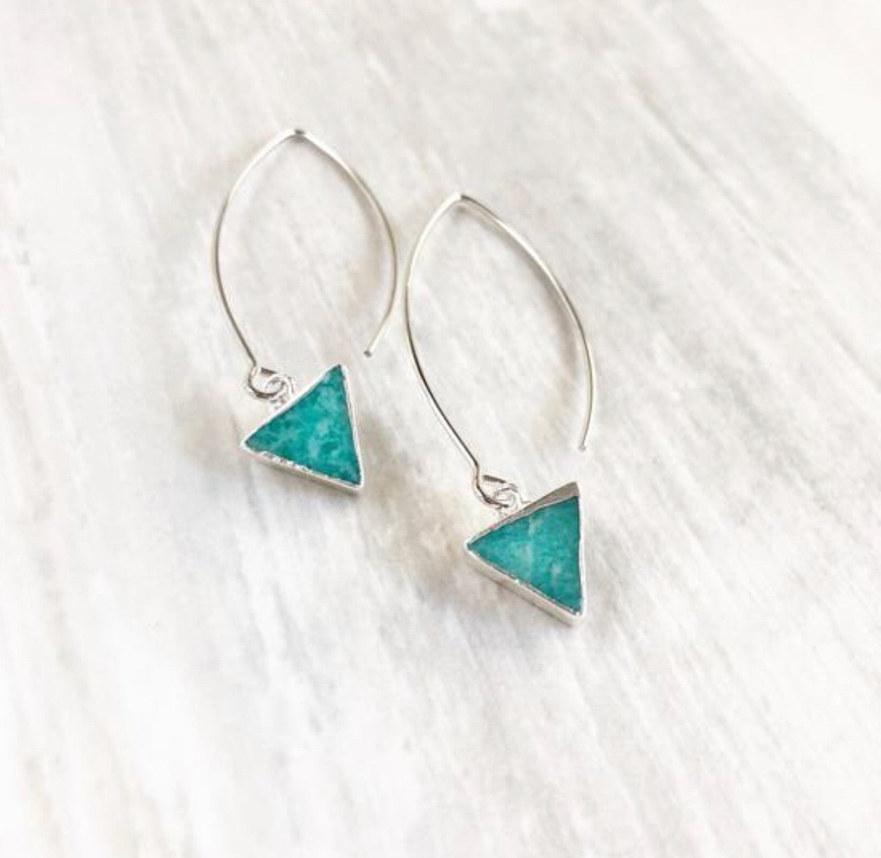 Triangle Drop Earrings with Amazonite Stones. Triangle Earrings. Silver Marquise Earrings. Geomtric.