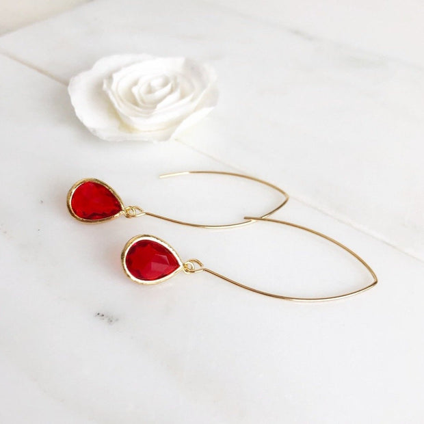 Red Drop Earrings in Gold. Red Holiday Jewelry. Christmas Earrings