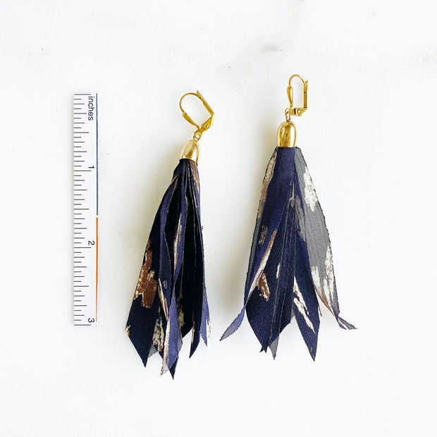 Long Fabric Tassel Earrings in Navy. Fall Statement Tassel Earrings