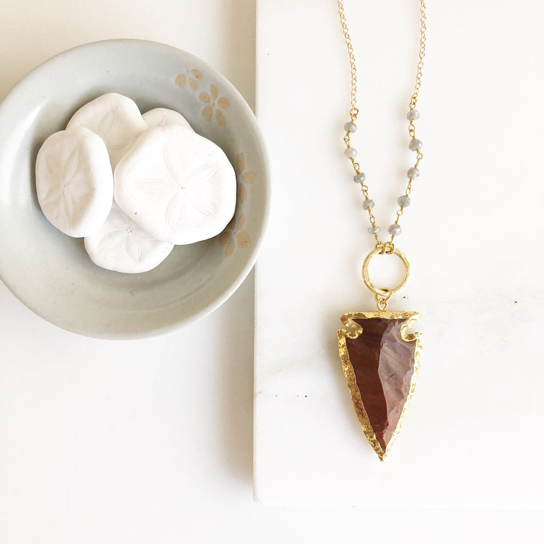 Brown Arrowhead Pendant Necklace. Long Gold Circle Arrowhead Necklace. Brown Arrowhead and Grey Beaded Chain. Boho Pendant Necklace.