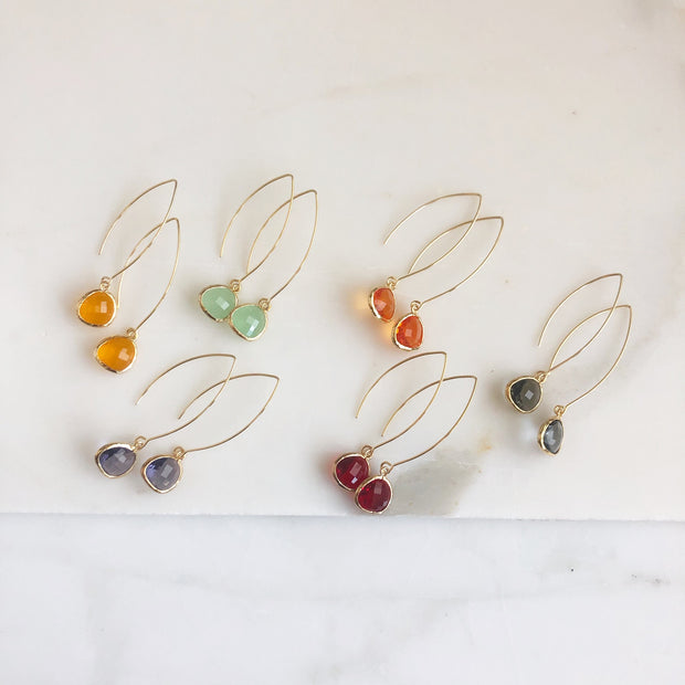 Gold Colorful Marquise Wire Teardrop Earrings. Glass Drop Earrings. Gold Bridal Earrings.