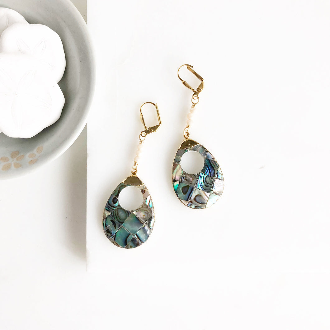Mother of Pearl Teardrop Dangle Earrings