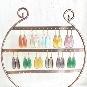 Statement Earrings. Teardrop Earrings. Gold Earrings. Colorful Statement Earrings.