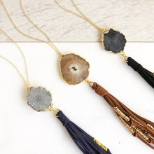 Load image into Gallery viewer, Solar Quartz Boho Tassel Necklace. Long Gold Tassel Necklace. Gift.
