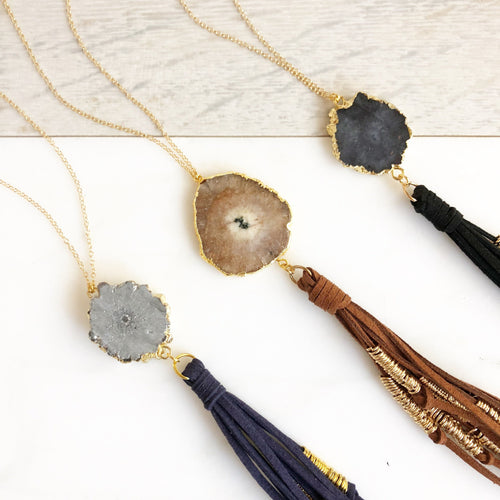 Solar Quartz Boho Tassel Necklace. Long Gold Tassel Necklace. Gift.