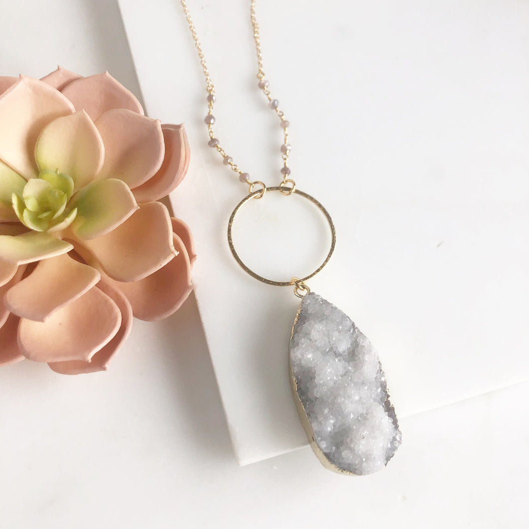 Long Necklace. White Druzy Necklace. Pendant Necklace. Unique Jewelry Gift for Her. .