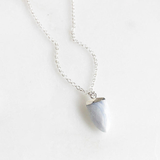 Simple Light Blue Agate Arrowhead Shield Necklace. Dainty Silver Necklace. Layering Necklace.