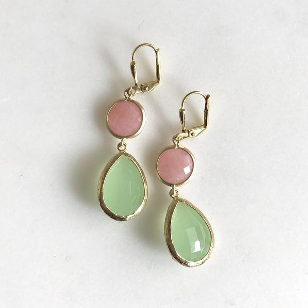 Coral Pink and Mint Dangle Earrings in Gold. Statement Earrings. Drop Dangle Earrings