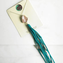Load image into Gallery viewer, Boho Tassel Necklace. Turquoise and Pink Tassel Necklace in Silver. Long Rose Quartz Tassel Necklace. Boho Jewelry. Unique Gift Idea.