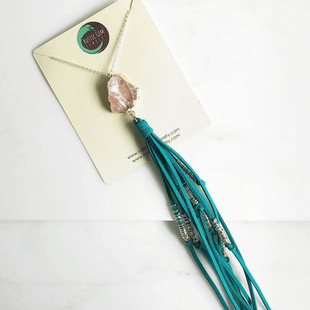 Boho Tassel Necklace. Turquoise and Pink Tassel Necklace in Silver. Long Rose Quartz Tassel Necklace. Boho Jewelry. Unique Gift Idea.