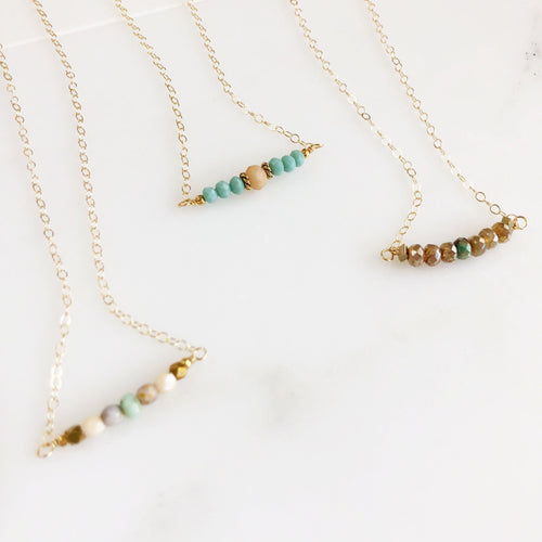 Beaded Necklace. Beaded Bar Necklace Delicate Boho Necklace. Simple Layering Necklace. Gift for Her. Dainty Beaded Necklace. Earth Tones.