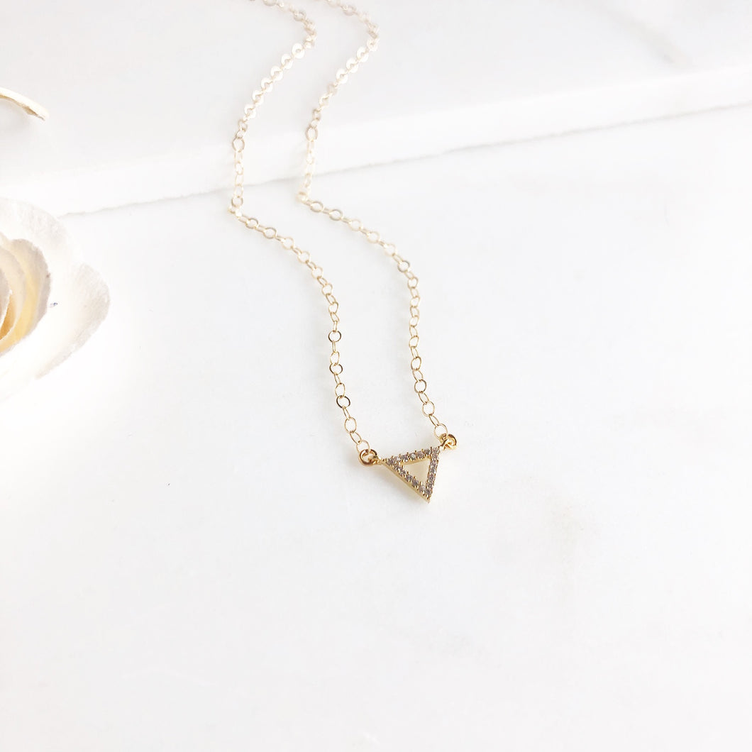 Cubic Zirconia Triangle Necklace in Gold.
