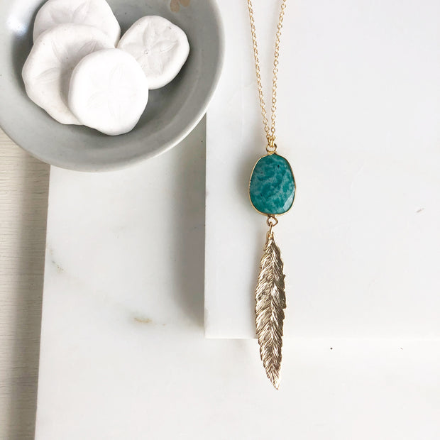 Long Feather Necklace with Amazonite Stone in Gold. Long Leaf Necklace. Bohemian Jewelry. Aqua.