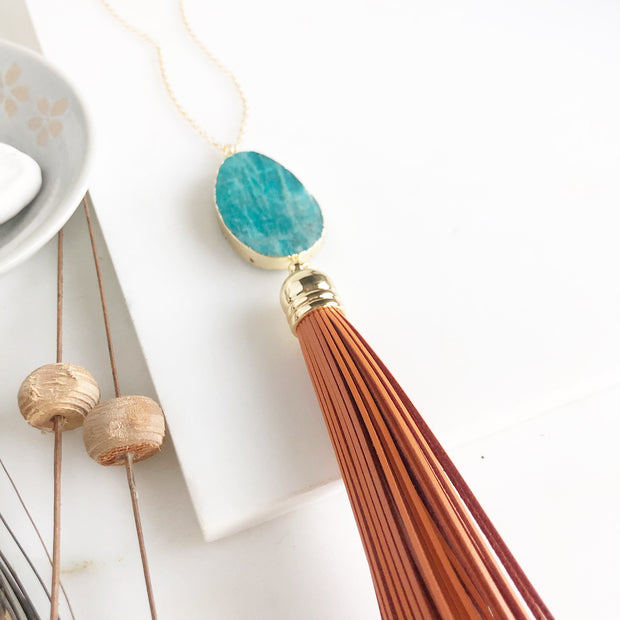 Amazonite Stone and Orange Tassel Necklace in Gold. Long Tassel Necklace.