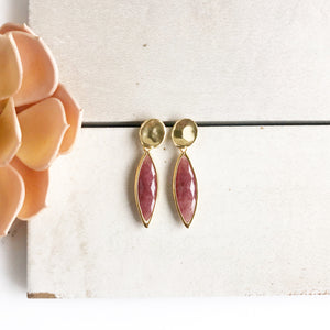 Post Earrings in Gold. Burgundy Stone Post Earrings. Marquis Stone Post Earrings. Jewelry.