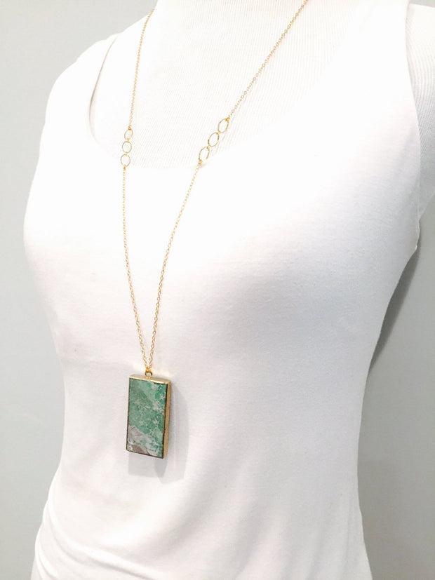 Long Gold Aqua Stone Necklace. Layering Necklace. Aqua Jasper Rectangle Stone Necklace. Long Bar Boho Necklace