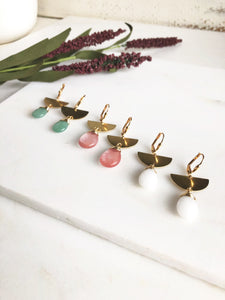 Half Moon Colorful Teardrop Earrings in Gold. White Sage Green and Grapefruit Pink.