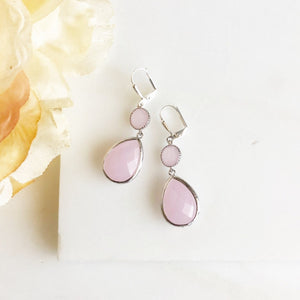 Soft Pink Glass Drop Earrings in Silver. Bridal Earrings. Bridesmaids Gift.