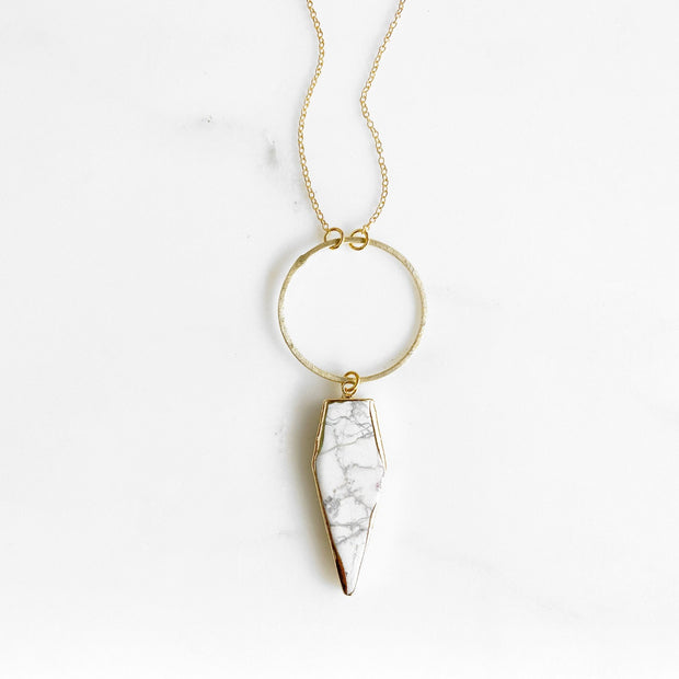 Long White Turquoise Stone Necklace in Gold. Long Gold White Stone Necklace