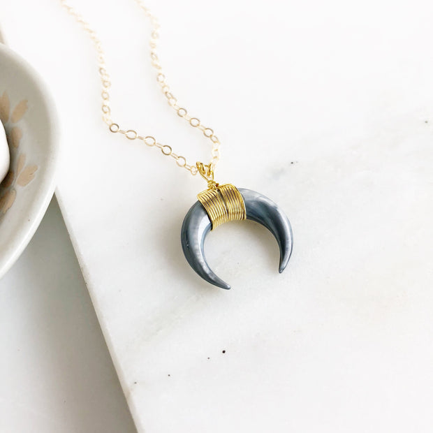 Simple Crescent Necklace in Gold. Gold Moon Necklace