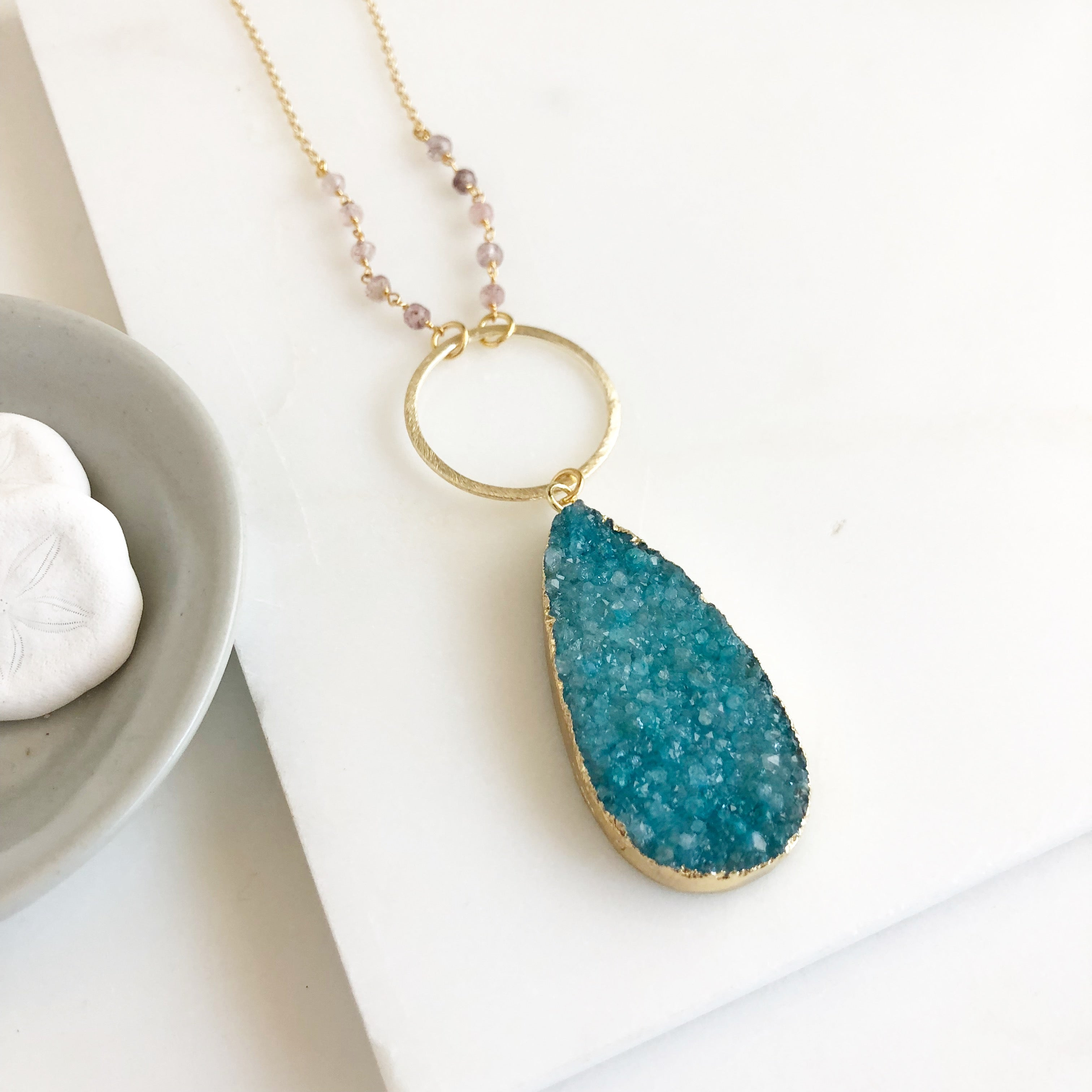 Long Teal Druzy Necklace. Teal Druzy and Strawberry Quartz Stone Necklace with Beaded Chain. Unique Jewelry Gift.